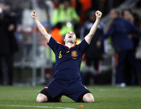 Andres Iniesta of Spain celebrates